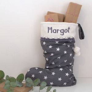 Grey Personalised Christmas Stocking With Knitted Cuff
