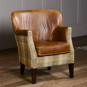 Curved Back Armchair Vintage Leather Or Tweed - furniture
