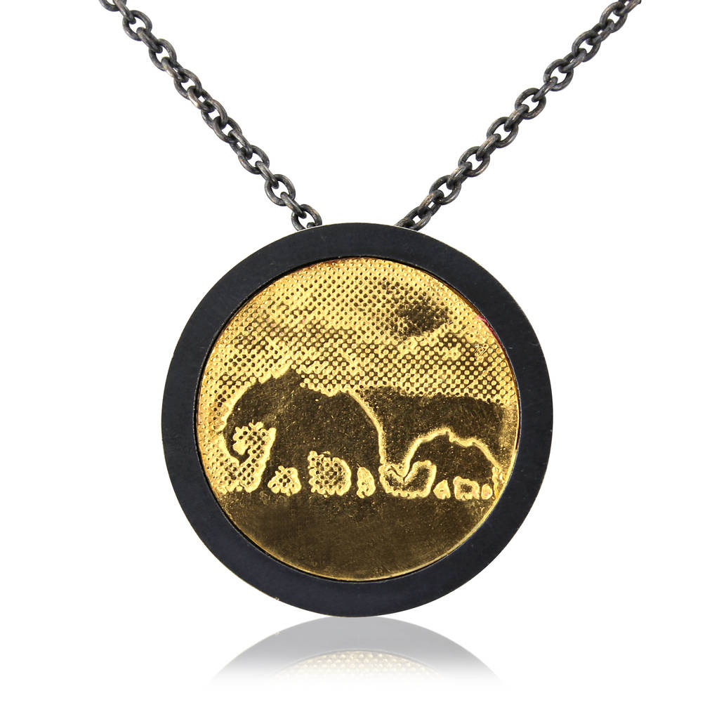 black gold large pendant harlequin elephant yellow marc diamond necklace alary
