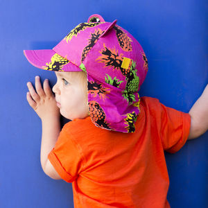 Children's UV Bear Baseball Hat With Neck Flap - gifts for children
