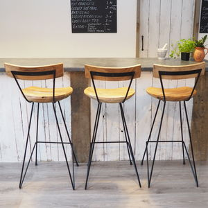 Industrial Wood Bar Stool With Backrest - furniture