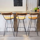 Industrial Wood Bar Stool With Backrest