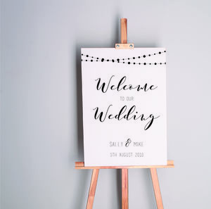 Black And White Welcome To Our Wedding Sign - new in wedding styling