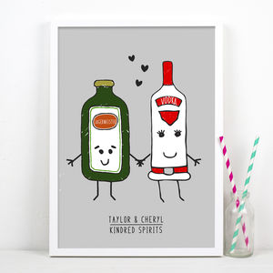 'Kindred Spirits' Personalised Couples Print - food & drink prints