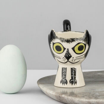 Black And White Cat Egg Cup