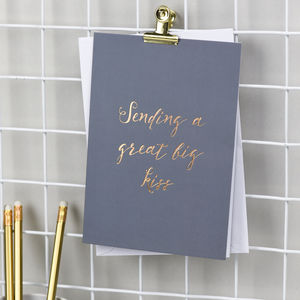 'Sending A Great Big Kiss' Foil Stamped Card - get well soon cards