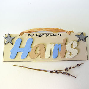 Personalised Blue And Vanilla Boy's Door Plaque - signs
