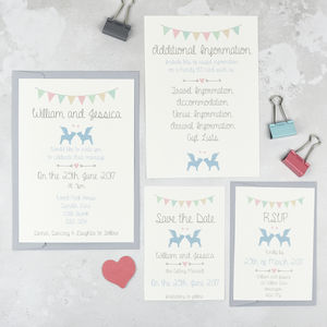 Pug And Frenchie Dog Wedding Stationery Set - save the date cards