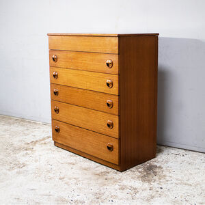 1970's Mid Century Chest Drawers With Lid Compartment