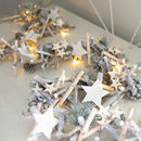 Long Whitewashed Stars And Spruce Light Garland