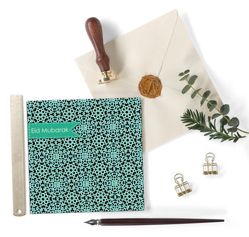 Eid Mubarak Greetings Card In Patterned Aqua