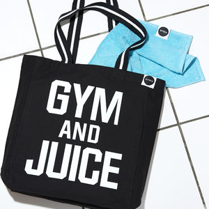 'Gym And Juice' Bag, Black And White - gifts for the health conscious