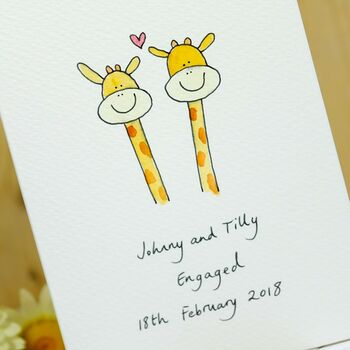 Personalised Giraffes In Love Hand Illustrated Card