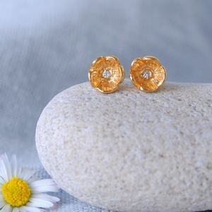 Gold Diamond Flower Stud Earrings - birthstone jewellery gifts