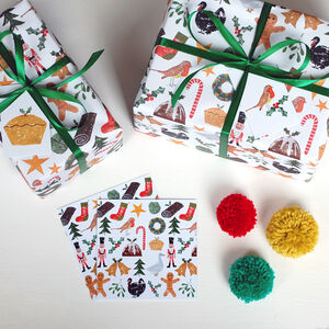 Christmas Festivities Wrapping Paper, Card And Tag Set