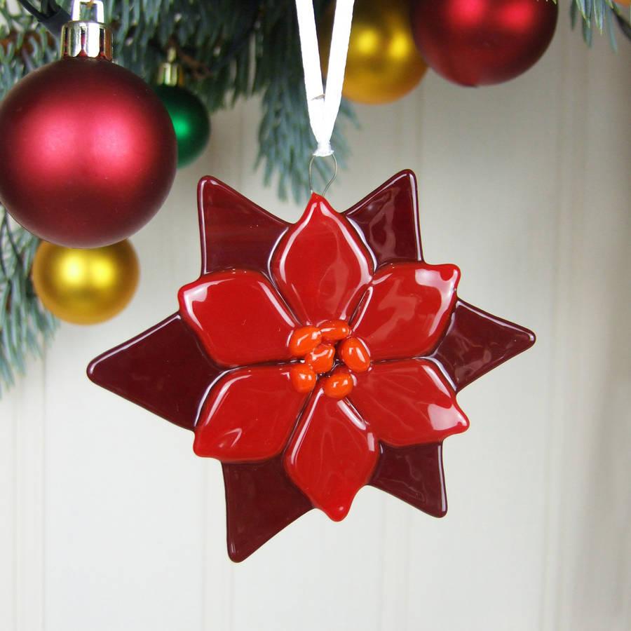 handmade glass poinsettia christmas tree decoration