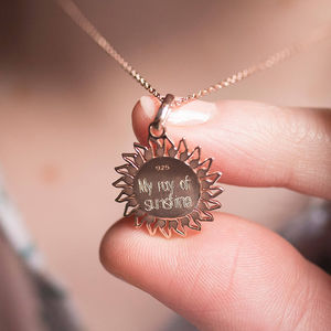 Personalised 18ct Rose Gold Vermeil Sun Locket - memories of mum