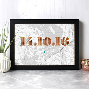 Personalised Map Print With Date In Copper Or Gold Foil