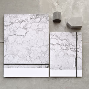 White Marble Recycled Paper A6 Or A5 Notebook - marble gifts
