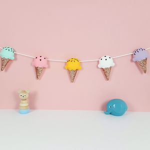 Ice Cream Rose Gold Glitter Cones Garland - children's room