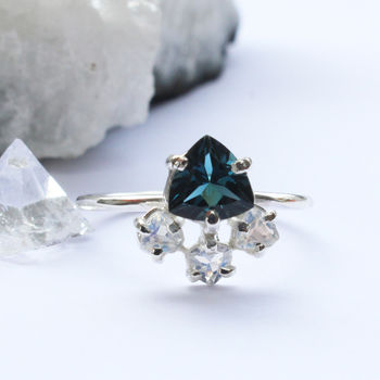 Rosa Sterling Silver Trillion Topaz And Moonstone Ring