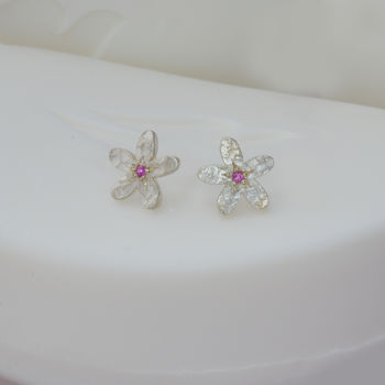 September birthstone earrings with pink sapphire