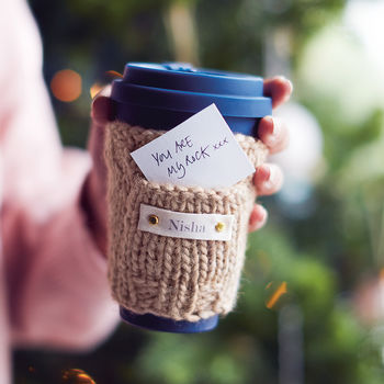 Personalised Eco Travel Mug And Knitted Cosy