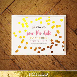 Confetti Swirl Foil Wedding Invitation - invitations