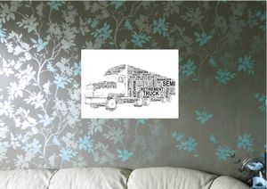 Lorry Or Truck Personalised Word Art Print