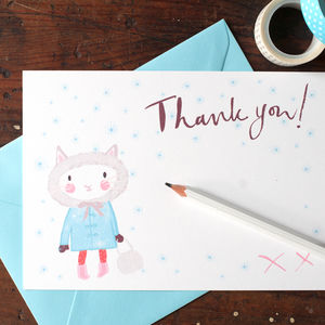 Christmas Thank You Postcards For Girls