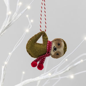 Personalised Sloth Christmas Tree Decoration - tree decorations