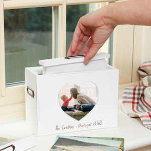 Personalised White Memory Photo Box - display your photos