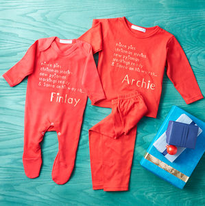 Personalised Christmas Eve Pyjama And Babygrow Set - clothing