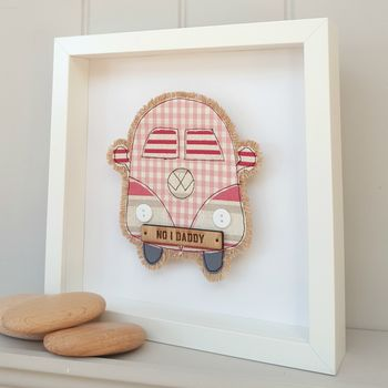 Fabric Campervan With Oak Personalised Number Plate