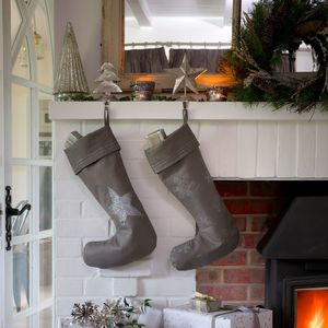 Silver Embroidered Linen Christmas Stocking