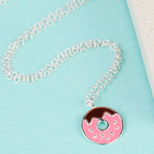 Sterling Silver Enamel Doughnut Necklace