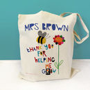 Personalised Thank You For Helping Me Grow Teacher Bag, bee & flower design - cotton bag