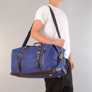 Handmade Waxed Canvas Travel Holdall For Ladies
