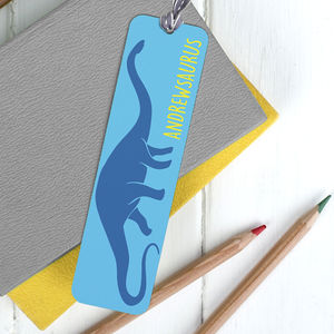 Children's Personalised Dinosaur Bookmark - books