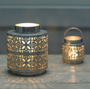 Kasbah Silver Candle Lantern - lighting
