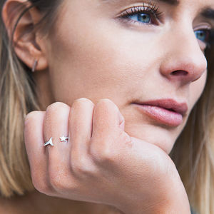 Adjustable Silver Star And Moon Gap Ring - rings