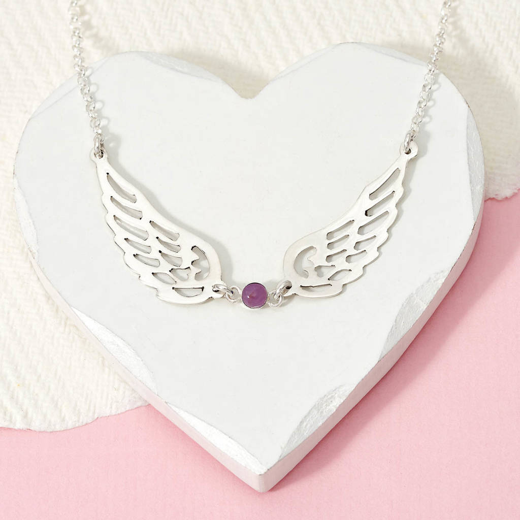 dffeb3d5dad7c Personalised Silver Guardian Angel Birthstone Necklace