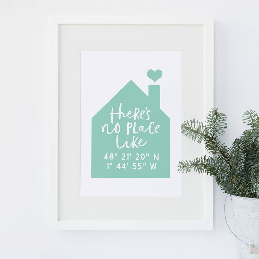 Theres No Place Like Home Print With Coordinates By Paperpaper