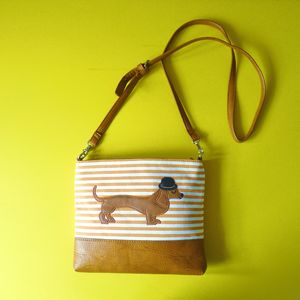 Mr Sausage Dog Over Shoulder Bag - sale