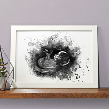 Personalised Baby Ultrasound Scan Illustration Print