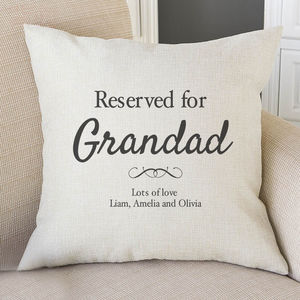 Reserved For Grandad Personalised Cushion Cover