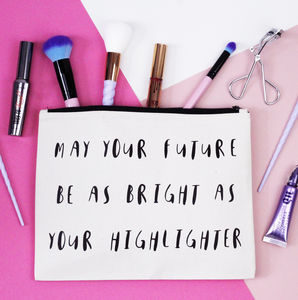 'May Your Future Be As Bright…' Makeup Bag - make-up & wash bags