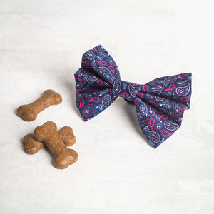 Navy And Pink Paisley Dog Bow Dog Bow Tie - new in pets