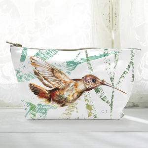 Personalised Chocolate Hummingbird Canvas Cosmetic Bag - make-up & wash bags