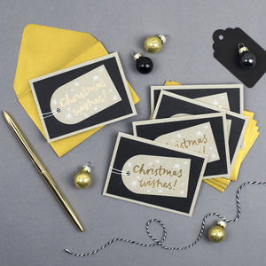 'Christmas Wishes' Mini Notecards Set Of Five
